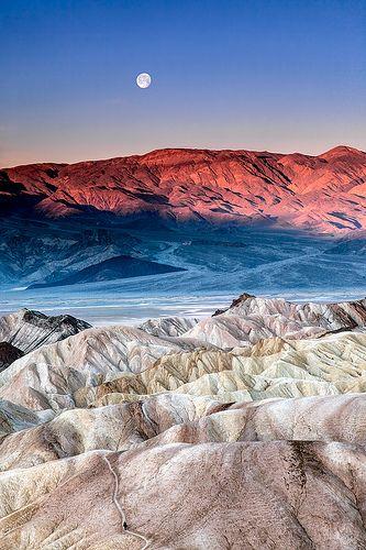 Moonset at sunrise. Death Valley National Park, California #Expo2015 #Milan #WorldsFair