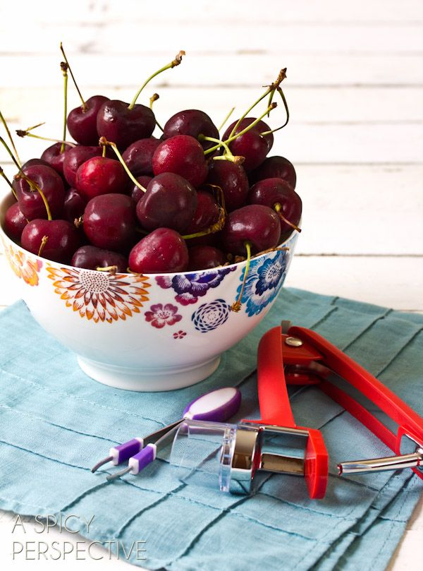 How to Pit Cherries (And Olives) ASpicyPerspective.com #howto #kitchentools #cherries