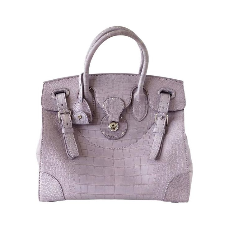 RALPH LAUREN Bag Rare Dusty Lavender Ricky Matte Alligator new | From a collection of rare vintage tote bags at https://www.1stdibs.com/fashion/handbags-purses-bags/tote-bags/