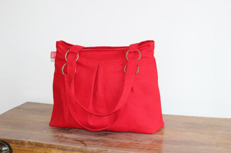 Red Canvas Purse Bag Stainless Accessories Washable Shoulder bag Stylish and…