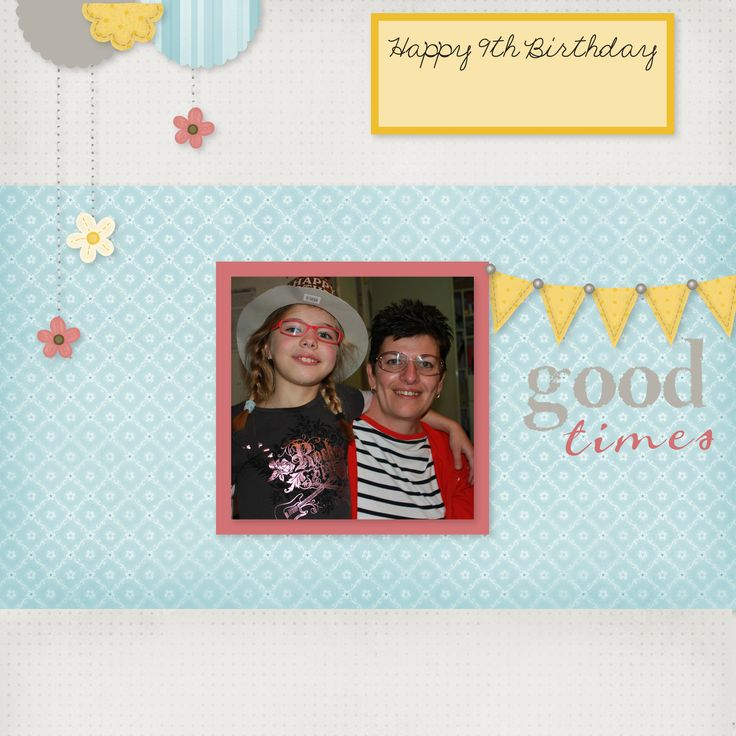 """My daughters 9th birthday using Studio J - Close to my Heart's FREE online Software.  This is using the Express Collections called """"All About Me""""."""