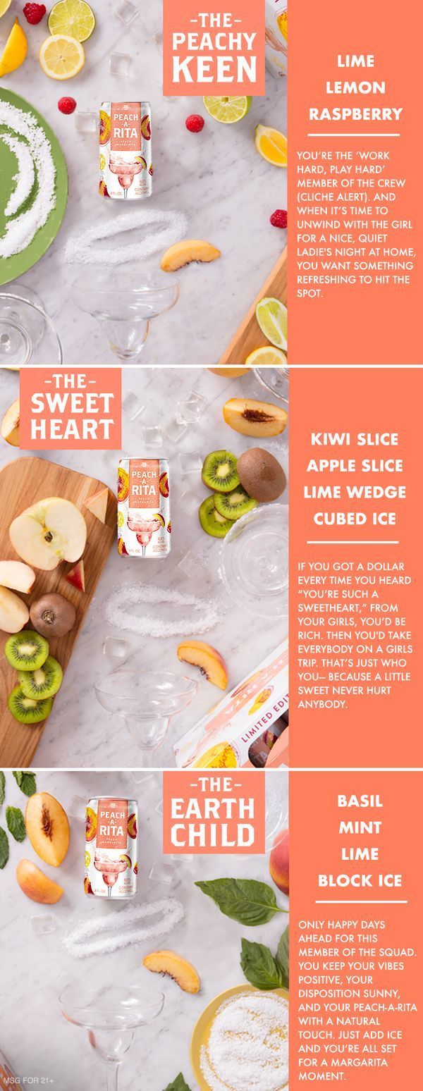 Need brunch cocktail ideas for the weekend? We designed these three quick recipes for you and your squad to enjoy Peach-A-Rita. Just add a few fresh ingredients to make any moment a margarita moment.  The Peachy Keen: Peach-A-Rita, Lime, Lemon, table salt