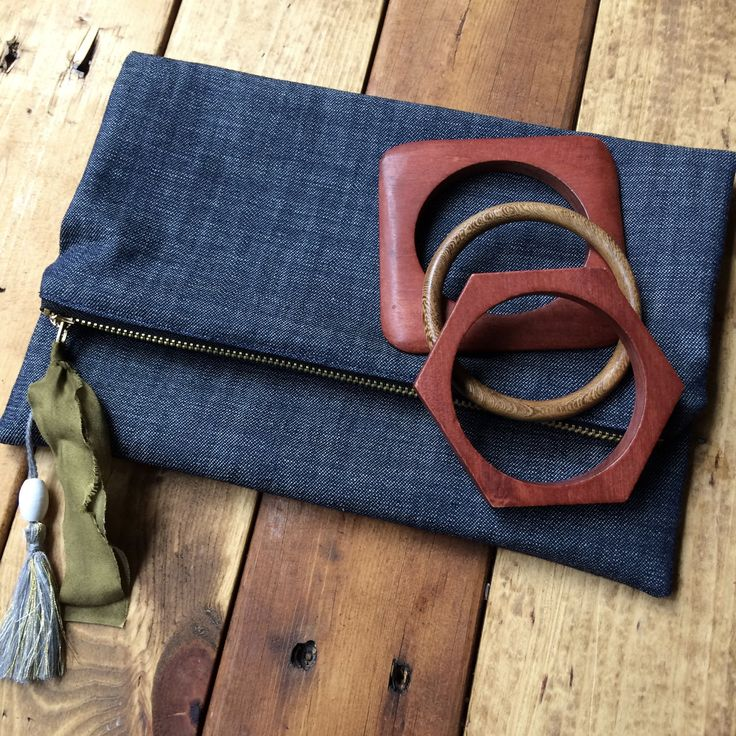 denim fold over clutch, denim clutch, zippered clutch, denim pouch, fold over clutch, denim bag, denim clutch bag by FortMaddox on Etsy