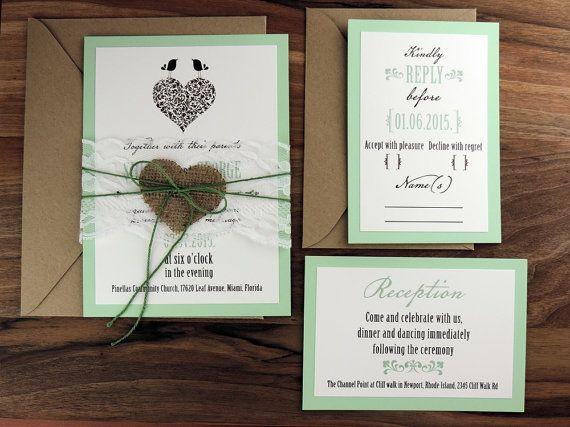 Rustic Wedding Invitation Suite Vintage by MelindaWeddingDesign