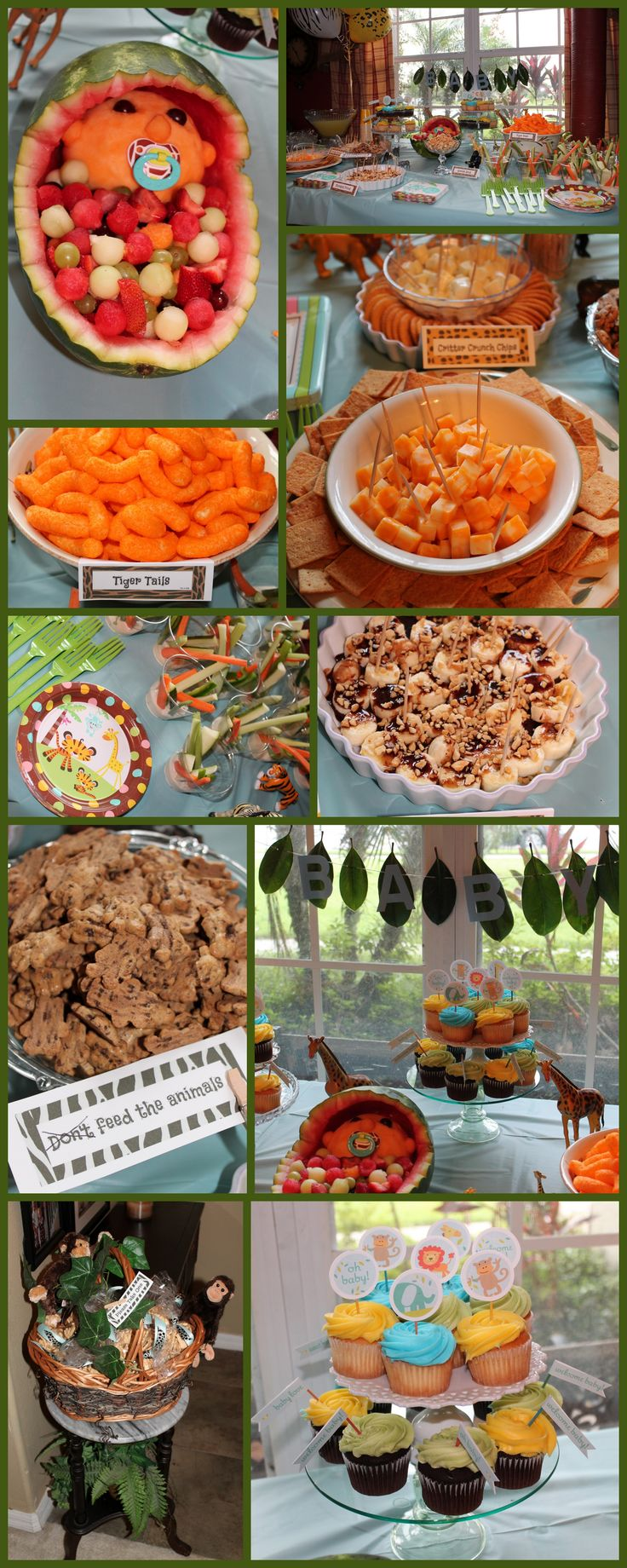 Food table for jungle themed baby shower the king of the for Baby shower party junge