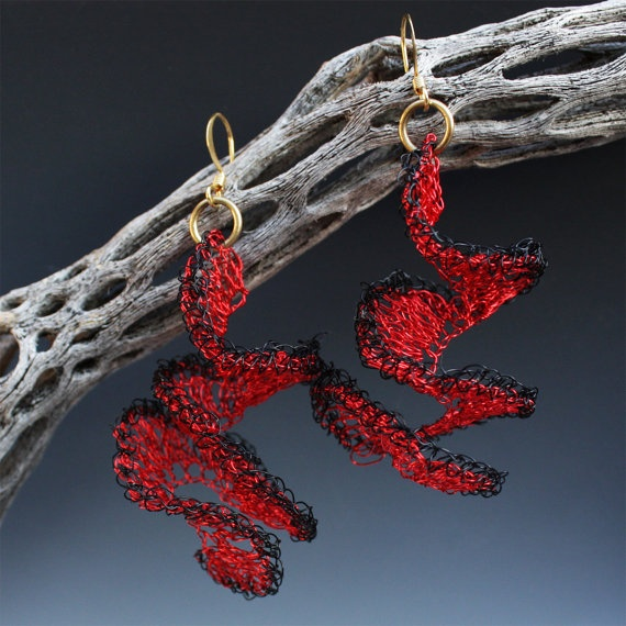 Crocheted Wire Spiral Earrings In Red And Black by Aliona K