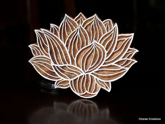 Hand Carved Indian Wood Textile Stamp Block- Water Lily on Etsy, $32.00