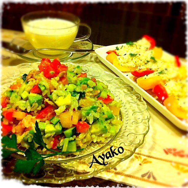 暑くて食欲ないから、またライスサラダ〜(^^;; - 119件のもぐもぐ - ライスサラダ、パプリカの豆腐ディップのせ、冷製コーンスープ by ayako1015
