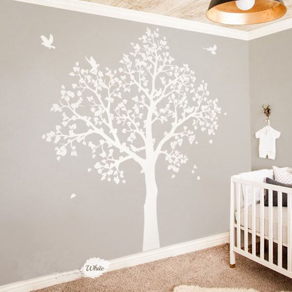 White Baby Nursery Tree Wall Mural Part 73