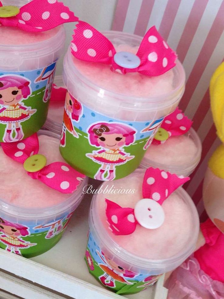 Cotton candy at a LaLaloopsy birthday party! See more party ideas at CatchMyParty.com!