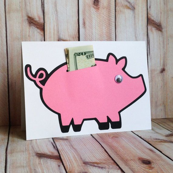 Piggy Bank Card, Money Holder Card, Birthday, Handmade Card, Greeting Card on Etsy, $4.25