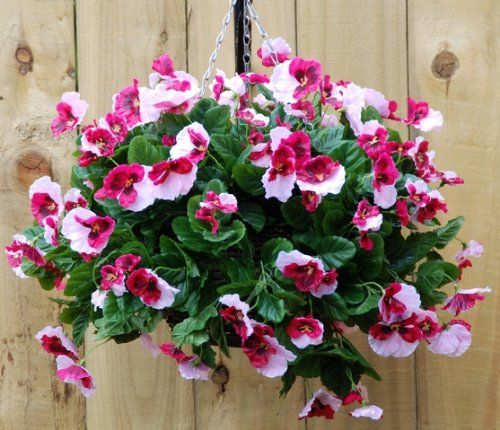 Pretty pink pansy artificial hanging basket