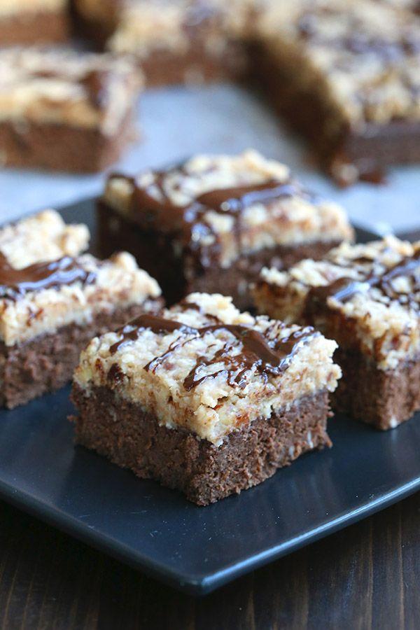 Healthy German Chocolate Brownies - almond flour brownies with plenty of sugar-free, low carb german chocolate topping.
