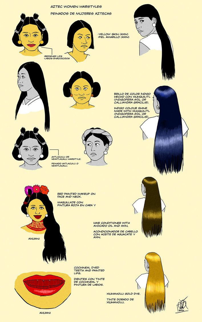 Aztec Women Hairstyles Makeup was frowned upon in Aztec society, but some people applied it. And this is more likely what the noblewomen wore, commoners probably looked more like the women without the yellow paint applied. This information comes from the Sahagun's Florentine Codex and Clavigero's History of Mexico.