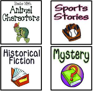 "Genre Lables from ""The Penny Pinching Teacher"" blog. I have used these before, and they are so cute!"