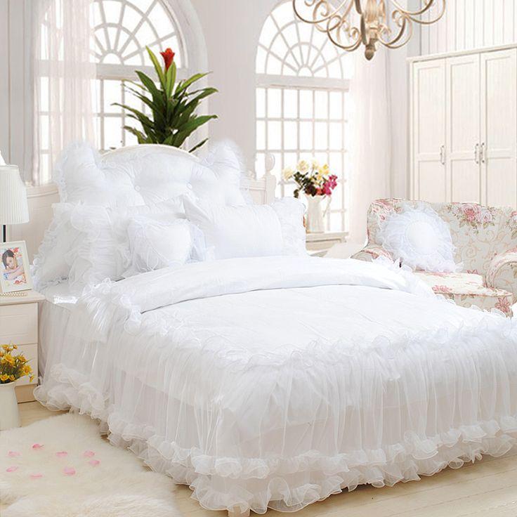 White lace wedding beding set,girl full queen king luxury elegant fairyfair…