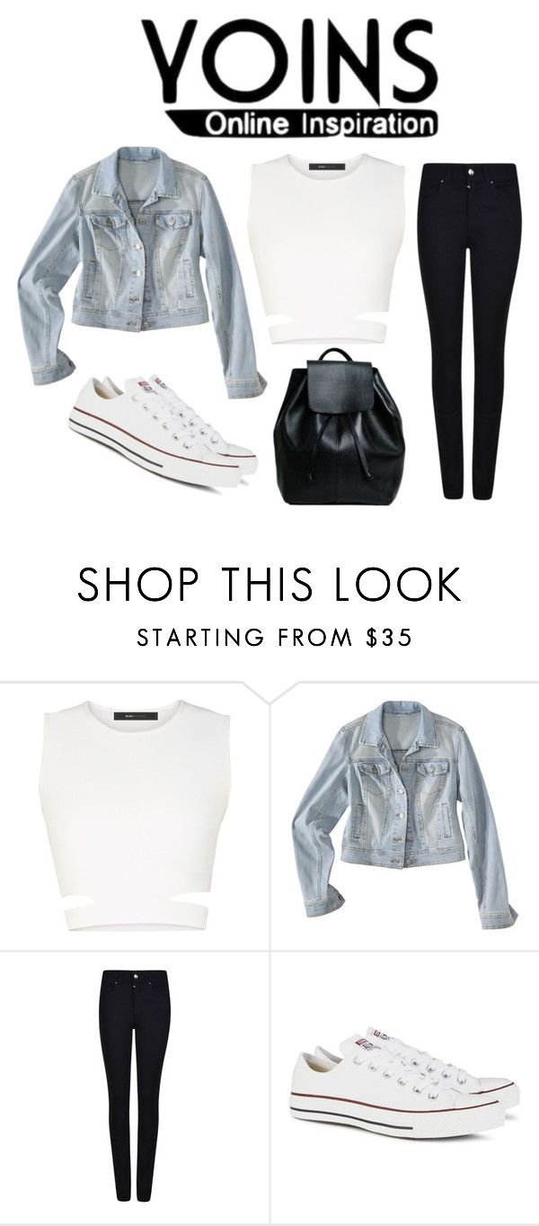 """""""denim jecket"""" by klara-kandare ❤ liked on Polyvore featuring BCBGMAXAZRIA, Mossimo Supply Co., Armani Jeans, Converse, women's clothing, women, female, woman, misses and juniors"""