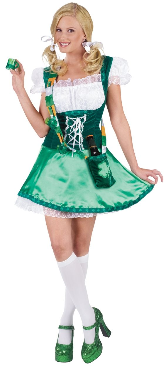 Irish Sassy St Patrick's Day Costume - Calgary, Alberta. Wear this sassy Irish costume next St. Patrick's Day or for Halloween. This is a Happy Hour Sassy Lassie costume. It is the perfect ensemble for St. Patrick's Day fun! In the style of a milkmaid dress, this Irish St. Patrick's Day costume has a faux lace-up corset bodice with a peasant top. The corset bodice is green velour with white lace detail and a ribbon of shamrocks along the inner straps and under the bust.