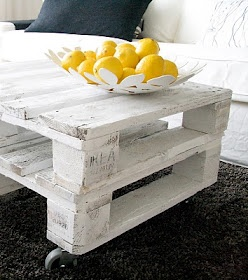 These stacked pallets made into a coffee table made me think that perhaps stacked pallets could be used in an art studio for storing large sheets of paper or works in progress.
