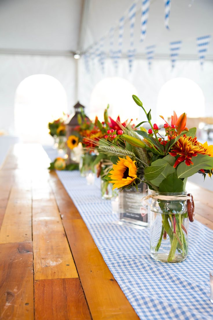 Oktoberfest custom runners and floral centerpieces with