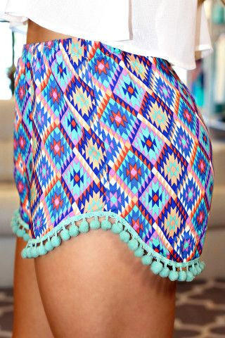 Aztec Print High Rise Shorts with Pom Pom Trim   uoionline.com: Women's Clothing Boutique
