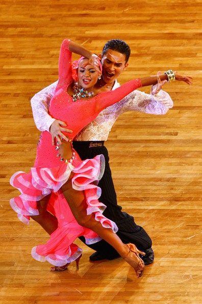 pink orange long ruffle horsehair skirt latin dress competition couple