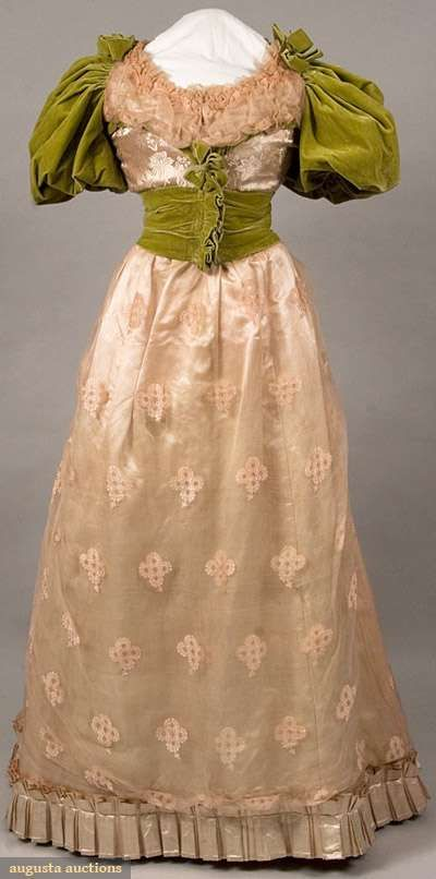1888 Pink and Chartreuse Ballgown - Floral pink silk damask bodice, pink brocade chiffon over bodice top & shoulders, chartreuse velvet short balloon sleeves & bodice trim, skirt pink silk satin overlaid w/ pink brocade chiffon, wide chartreuse velvet belt. Provenance: worn by Mary E. Rusk, daughter of 1st US Secretary of Agriculture, to Benjamin Harrison's Innaugural Ball, January, 1889.