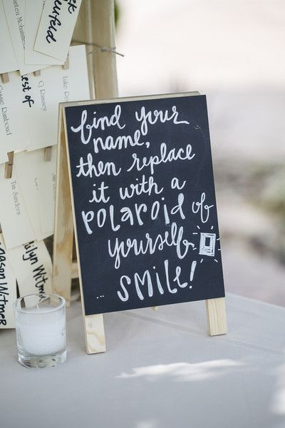 <3 LOVE this idea! Leave a #Polaroid camera on each table and have each guest replace their name card with a #selfie.... SO FUN {Ballad's Photography}