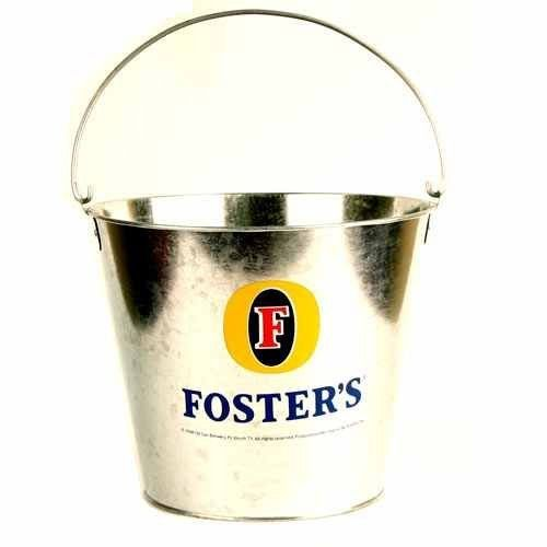 Fosters Beer Bucket (Holds 8 Bottles and Ice) by NFL. $14.99. Officially licensed metal bucket. Metal Beer Bucket. Beer Logo On 2 Sides. Holds up to 8 long neck beers and ice. Keep your beer or other drinks ice cold with the metal bucket. It holds up to 8 long neck bottles. Perfect for any party, tailgating, or just to decorate your bar! Great addition to any bar or man cave.
