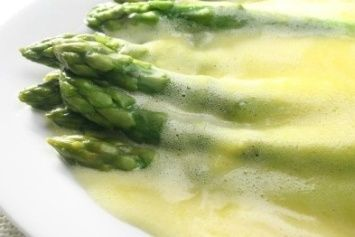 Hollandaise sauce; uses 2egg yolks, easy to make