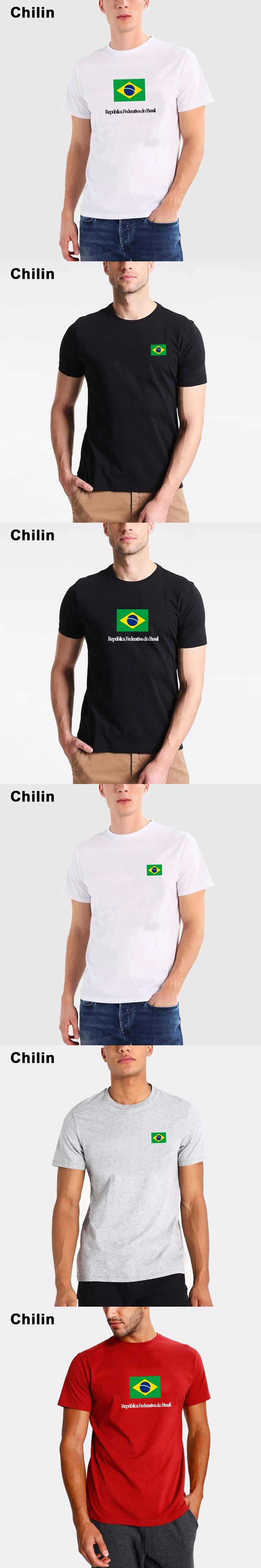 Chilin New Tops Summer Brazil Flag Fans Men T shirts Cotton Nostalgia Brazil Flag Style Rio Games Fitness T-shirts for Men