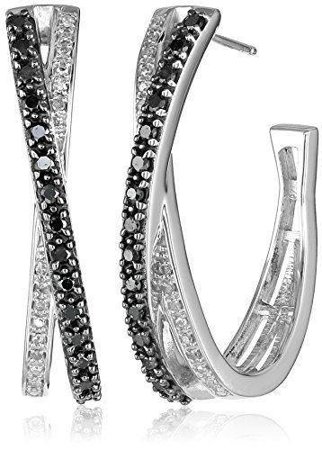 Sterling Silver Black and White Diamond Hoop Earrings (1/2 cttw)	by Amazon Collection - See more at: http://blackdiamondgemstone.com/jewelry/earrings/hoop/sterling-silver-black-and-white-diamond-hoop-earrings-12-cttw-com/#sthash.YelUYL3t.dpuf