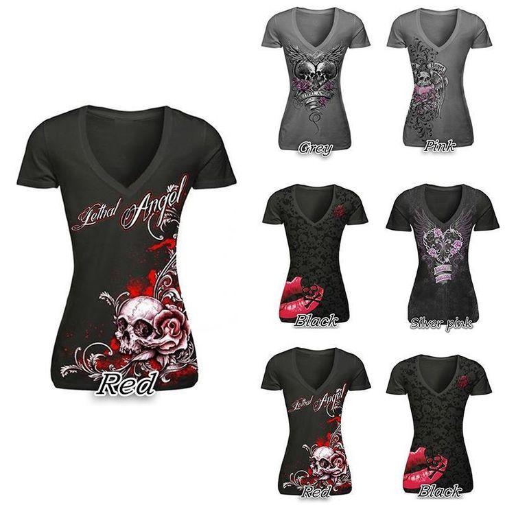 T-shirt femme crane, tete de mort fleurs, coeur, aile d'ange, papillon, imprimer