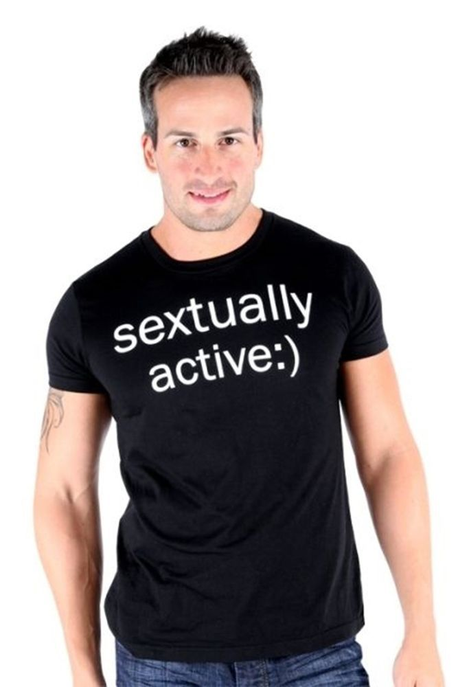 Lucky 7 Black Mens Sextually Active :) Crew Neck Text Sexting T-Shirt $39.00 CAD Now 75% OFF