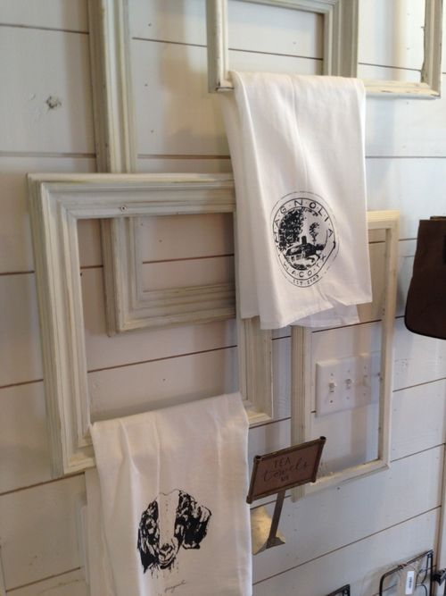 fun way to display hand towels in the kitchen or bathroom. I saw this at my visit to Magnolia Farms in Waco, Texas. Joanna Gaines from HGTV's Fixer Upper's shop! www.carleykelley.com