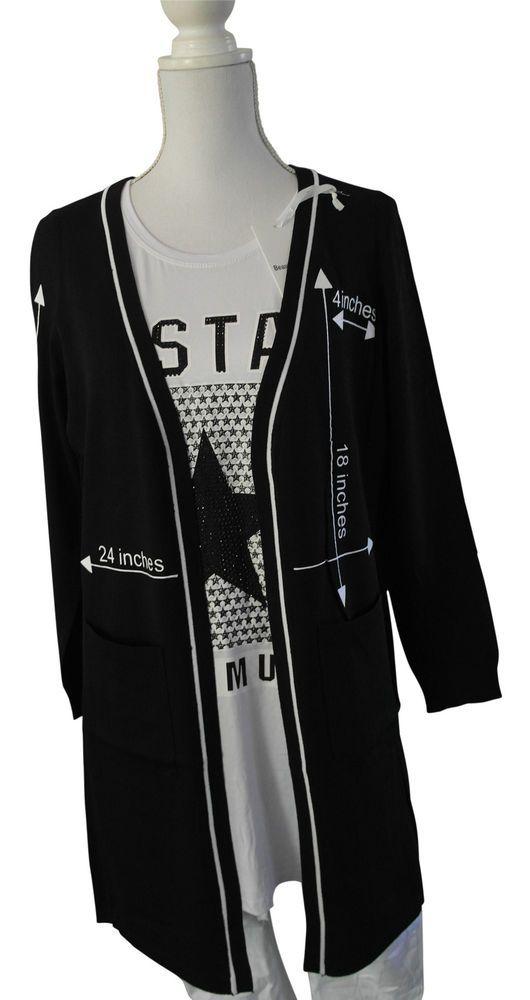 Impressionen Jacke Strickjacke schwarz Schrift Taschen Longjacke S - XL