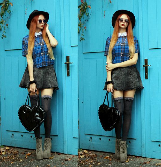 Swapped Tartan Top, H&M Grey Denim Skirt, H&M Heart Shaped Bag, Jeffrey Campbell Lita Platform Heels
