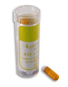 http://www.termometer.se/pH-4-buffert-10-tabletter-som-ger-1-dl.-vardera.html  pH 4 buffert (10 kapslar som ger 1 dl. vardera)  Buffertkapsel för upplösning i 100 ml destillerat vatten. För framställning av kalibreringslösning pH 4 för pH-mätare. Kapseln kan lagras under nästan obegränsad tid...
