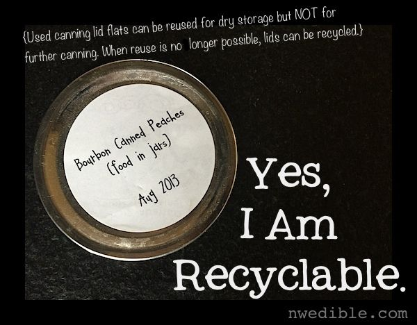 The flats from two piece canning lids can't be reused for additional canning, but they can be used for dry storage. When you are done with them, they are recyclable.Flats