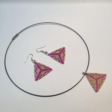 Parure triangles peyote fuchsia, vert et rose