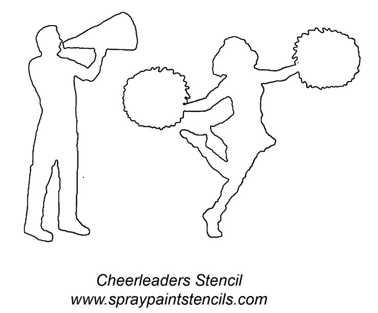 cheerleaders stencil outline