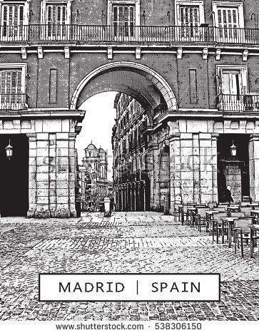 Madrid. Spain. Plaza Mayor - view through the archway into the street. Illustration in graphic style.  The vector image is the result of auto-trace. It is adapted for easy use.