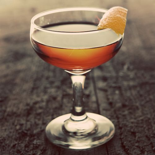 Fat Like Buddha - .75 oz Dubonnet Rouge 2 oz Flor de Caña 7-Year-Old Grand Reserve Rum .25 oz Bénédictine .25 oz Cointreau