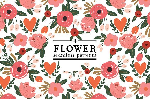Romantic flower pattern by Maria Galybina on @creativemarket