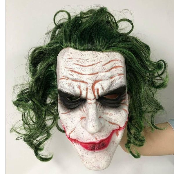 Halloween Party Phoenix 2020 Joker Mask Cosplay Horror Scary Clown Mask with Green hair Wig