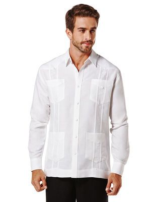 Ramie/Rayon Long Sleeve Embroidered Classic Guayabera, Bright White, hi-res