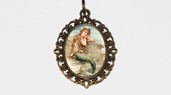 Mermaid Necklace Mermaid Pendant Mermaid Jewelry Beach