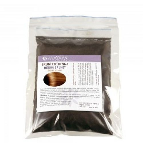 Colorant Henna brunet. Colorant capilar vegetal ce conferă  frumoase nuanţe brune, închide la culoare părul blond şi şaten. Se aplică sub formă de mască, simplu sau combinat cu alte pudre henna