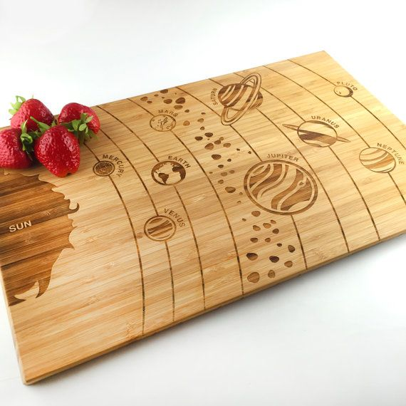 Cutting Board Wedding Gift Solar System Map Galaxy Science Sun Planets Earth Gift Laser Engraved Bamboo Cutting Board Anniversary Gift