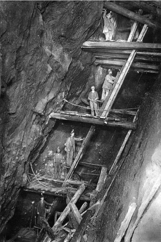 Cornish mine man-engine, used for transporting miners to and from the surface